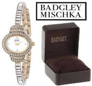 Badgley Mischka BA/1320WMGB Swarovski Crystal Accented Gold Tone Watch