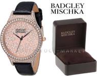 Badgley Mischka BA/1348PKBK Crystal Accented Rose Gold Tone Black Leather Watch