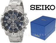 MEN'S SEIKO STAINLESS STEEL SOLAR CHRONOGRAPH BLUE DIAL WATCH! SSC305