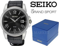 Seiko Le Grand Sport Black Leather Band Solar Power Watch SNE397