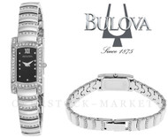 Womens Bulova Stainless Steel Cyrstal Accented Rectangular Case Watch 96L202