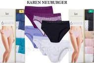 WOMENS KAREN NEUBURGER HI-CUT COTTON BLEND BRIEFS WITH LACE 6 PACK