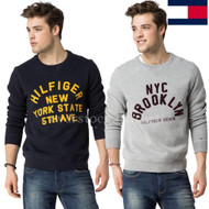 MENS TOMMY HILFIGER COTTON BLEND CREW NECK LOGO PULLOVER SWEATSHIRT