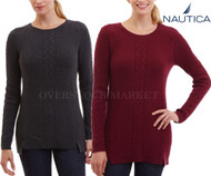 WOMENS NAUTICA SINGLE CABLE KNIT TUNIC SWEATER! MIXED STITCH!