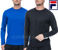 MENS FILA LONG SLEEVE CREW NECK PERFORMANCE FABRIC TEE T-SHIRT!