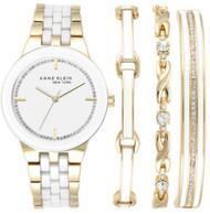Anne Klein New York Women's Gold Tone Watch and Bracelet Set 12/2242GBST