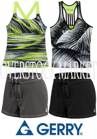 WOMEN'S GERRY 2 PIECE SWIMSUIT! BOARD SHORT BOTTOM! BUILT IN BRA!