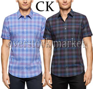MENS CALVIN KLEIN CLASSIC WOVEN COTTON TWILL SHIRT SHORT SLEEVE!