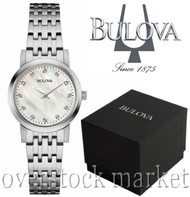 Women's Bulova 12 Diamond Accented MOP Stainless Steel Bracelet Watch 96P175
