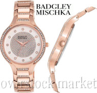 Badgley Mischka BA/1374WTRG Swarovski Crystal Accented Rose Gold Tone Watch!