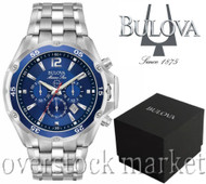 MEN'S BULOVA MARINE STAR STAINLESS STEEL CHRONOGRAPH WATCH! 98B282
