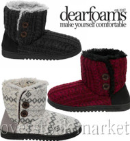 Women's Dearfoams Sweater Knit 2 Button Bootie Slippers