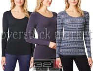 Womens Weatherproof 32 Degrees Heat Base Layer Medium Weight Long Sleeve Scoop Neck Top