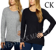 WOMENS CALVIN KLEIN CREW NECK HIGH-LOW HEM PULLOVER SWEATER