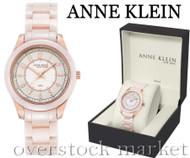 Anne Klein Blush Ceramic Champagne Rosegold-Tone Crystal Watch 12/2224RGLP
