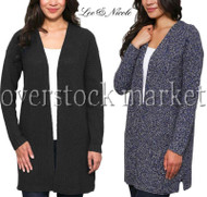 Women's Leo & Nicole Textured Weave Open Front Long Cardigan Sweater