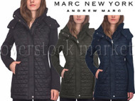 WOMENS MARC NEW YORK PYRAMID QUILTED SOFT SHELL SLEEVE HOODED JACKET!