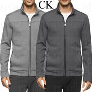 Mens Calvin Klein Mixed Media Full Zip Mock Neck Sweatshirt Jacket!