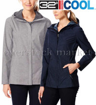 WOMENS WEATHERPROOF 32 DEGREES COOL FULL ZIP HOODED RAIN JACKET