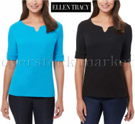 WOMEN'S ELLEN TRACY COMFORT STRETCH ELBOW SLEEVE TOP! SUPER SOFT!