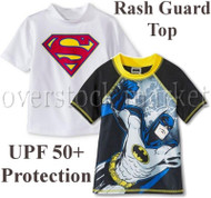 NEW BOYS CHARACTER RASH GUARD SWIM TOP! UPF 50+ PROTECTION!