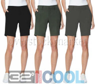WOMENS WEATHERPROOF 32 DEGREES COOL WOVEN STRETCH CASUAL CARGO SHORT
