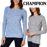 WOMENS CHAMPION LONG SLEEVE CREW NECK TEE T-SHIRT! Soft Pullover!