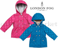 GIRLS LONDON FOG MIDWEIGHT COAT JACKET FAUX FUR LINED! HOODED!