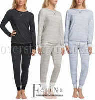 WOMENS FELINA FRENCH TERRY LOUNGE SET! CREWNECK TOP & JOGGER PANT PJ SET!