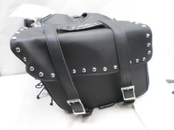 Black Motorcycle Saddlebags for Dyna Harley Honda Yamaha Kawaski LEATHER