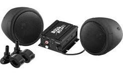 "BOSS AUDIO MCBK420B Black 600 watt Motorcycle/ATV Sound System with Bluetooth Audio Streaming, One pair of 3"" Weather Proof Speakers, Aux Input and Volume Control"