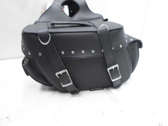 Black Universal Motorcycle Motorcycle Leather SaddleBags Side Bags Generic