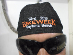 Skull Cap Head Wrap Du-Rag DAYTONA BIKE WEEK 2015 Black Denim  Harley