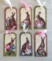 Easter Tags Chocolate Bunnies Med S/6