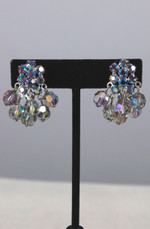 Blue rhinestone earrings 1960s crystal drops 60s clip-ons