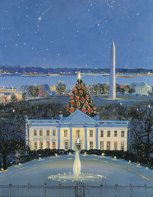 White House at Christmas by Sally Caldwell Fisher