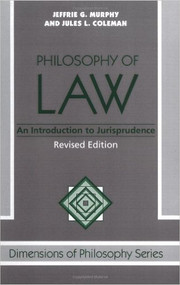 PHILOSOPHY OF LAW (REVISED 1989)  9780813308487