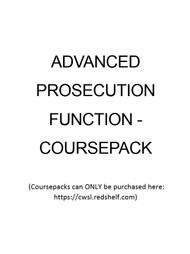 ADVANCED PROSECUTION FUNCTION - COURSEPACK