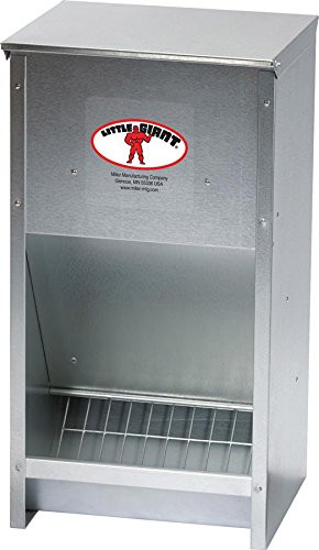 Galvanized High Capacity Poultry Feeder Item #: 171267 This Galvanized High-Capacity Poultry Feeder comes completely assembled ready to store and dispenses up to 25 pounds of mash, pellet or crumble feed. The feeder easily mounts on wall or frame. The specially designed chute provides a steady food flow while feed saver grid prevents the bottom from overfilling and keeps birds from sweeping feed out of unit      Completely assembled, made of tough, galvanized steel     Stores and dispenses up to 25 lbs. of mash, pellet or crumble feed     Mounts on wall or frame     Specially designed chute allows for steady food flow     Feed saver grid prevents bottom from overfilling and keeps birds from sweeping feed out of unit