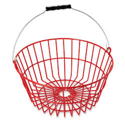 """Made of heavy wire securely welded at every joint. Continuous feet around base allow air flow under basket for fast cooling of eggs. Thick, plastic coating cushions eggs and reduces breakage...will not mark eggs. Will not deteriorate with detergents or extreme temperatures. Holds 7 dozen chicken eggs.    13"""" top diameter, 9-3/4"""" bottom diameter, 6ǃ/4"""" H"""
