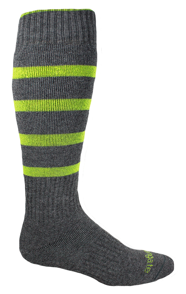 Our Warm Classic Lines  Winter Performance Socks in Charcoal & Light Green.