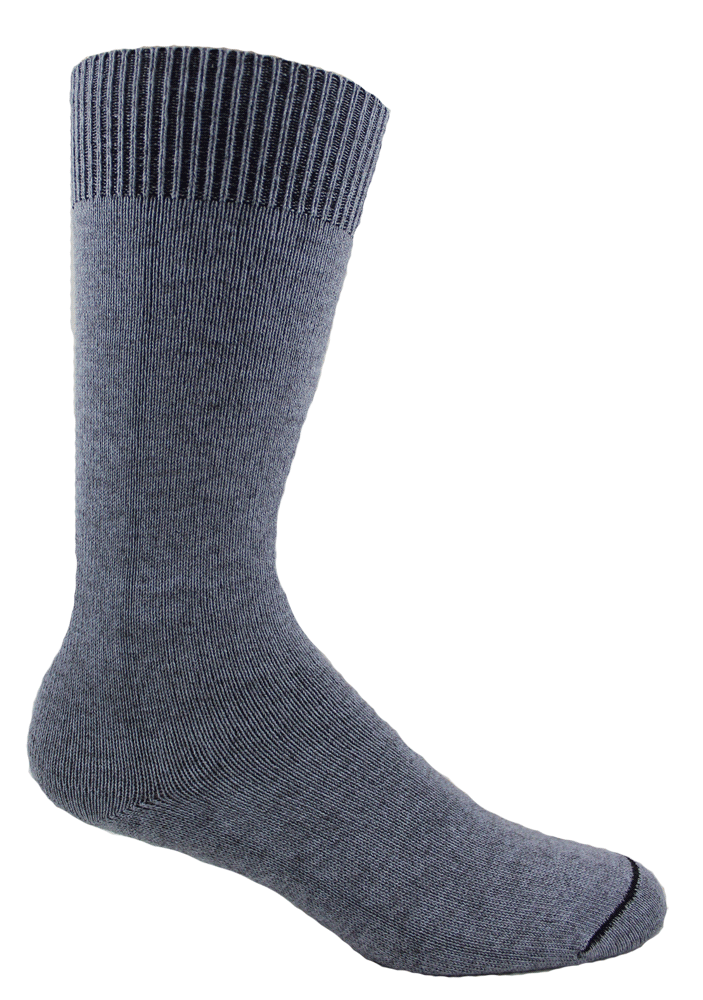 Our casual super soft Alpacor® socks in a heather gray have a soft non-binding cuff.