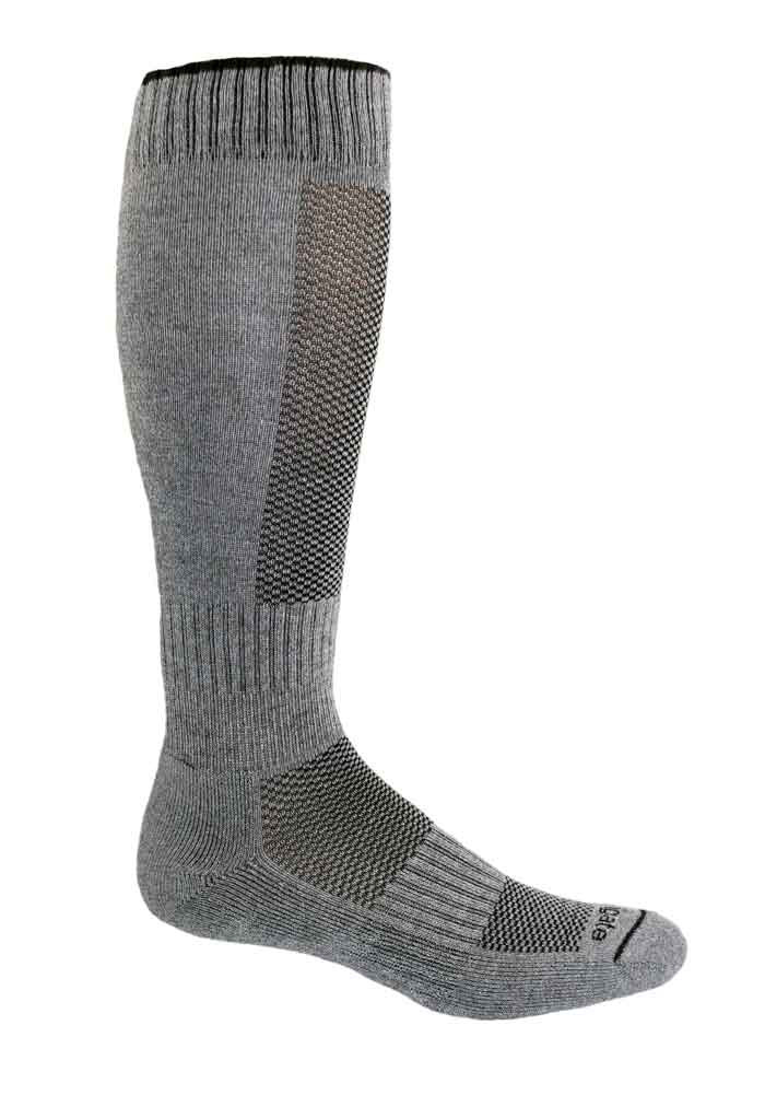 Alpacor® Yarn High-Calf Performance Socks in a neutral shade of gray.