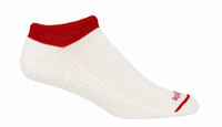 No peek, No Show All Sport Alpacor®  yarn Socks in White and Red.