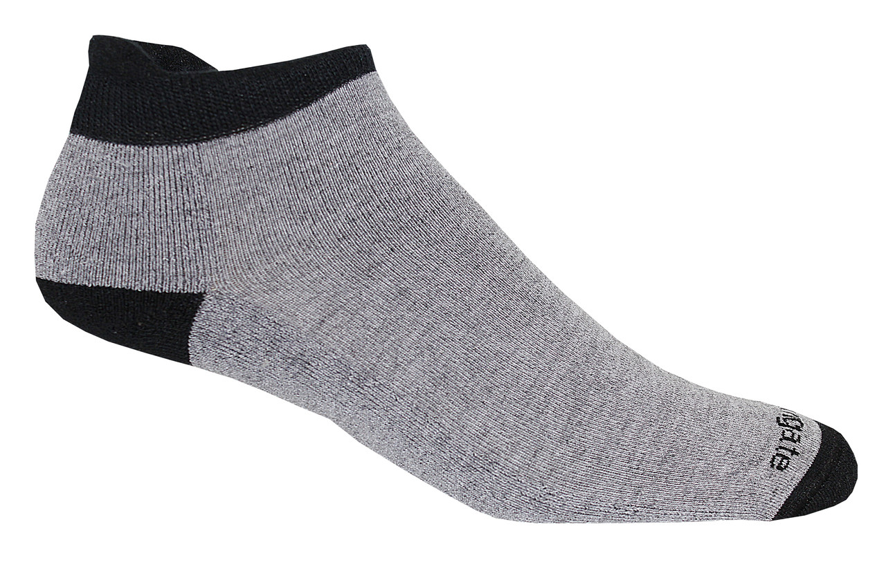 Soft Heel Tab Shorty Alpacor®  Performance Socks In Gray  & Black.