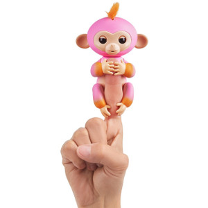 Summer (Pink w/ Orange Accents): WowWee Fingerlings Interactive Baby Monkey Puppet