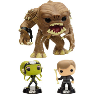 "Rancor (~6"") with Luke Skywalker & Slave Oola: Exclusive Funko POP! x Star Wars Vinyl Bobble-Head Figure Set"