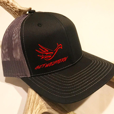Get Western Muley Shed Hat - Black & Silver & Red