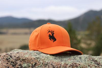 Orange and Black Bucking Horse Flexfit Hat
