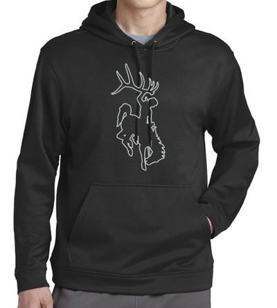 Black & Aluminum Bucking Horse Hoodie